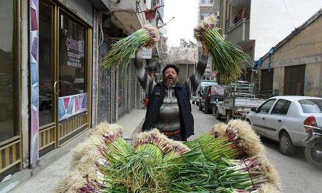 турецкий торговец продает зеленый чеснок