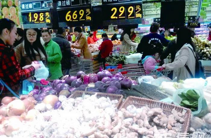 Цена на чеснок в супермаркете Китая