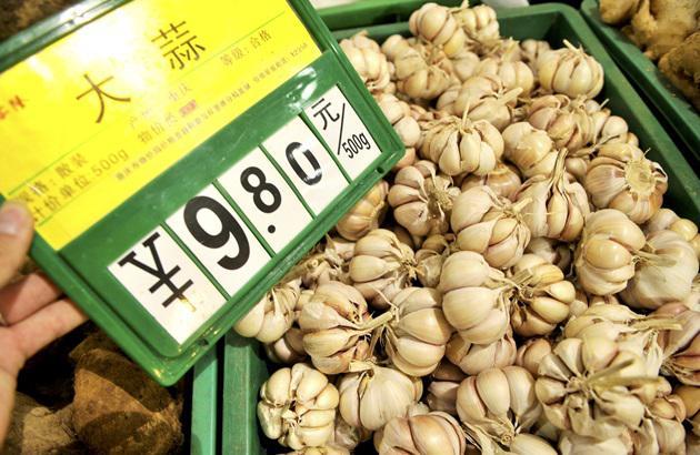 Чеснок в ящике в Китае с ценой в йенах